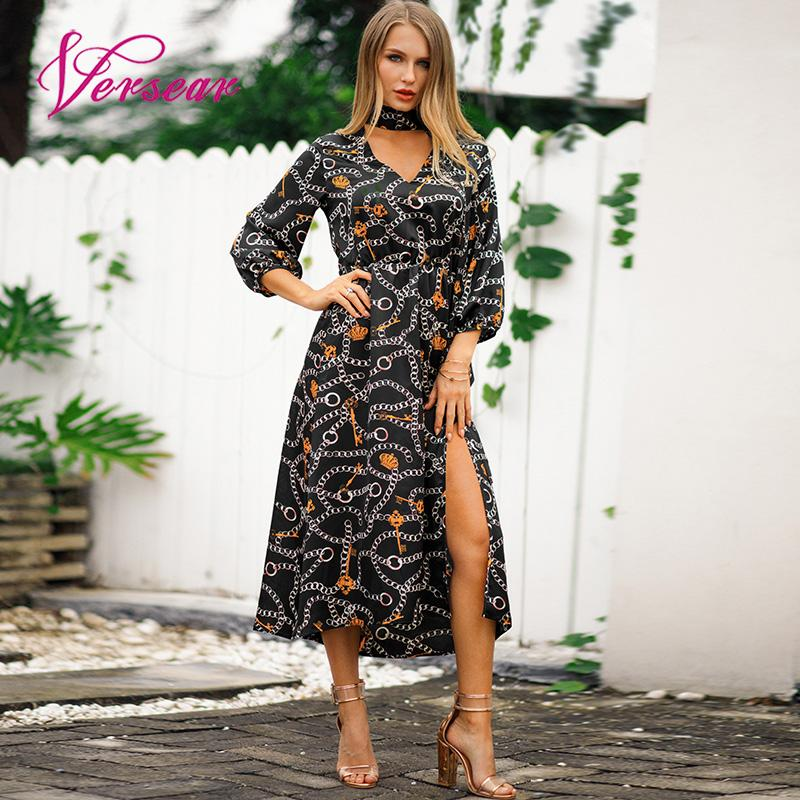 Versear Boho Women Dress Chain Print V Neckline Tie Bow Elastic High Waist Split Maxi Gown Elegant Business Dresses Vestido 2019