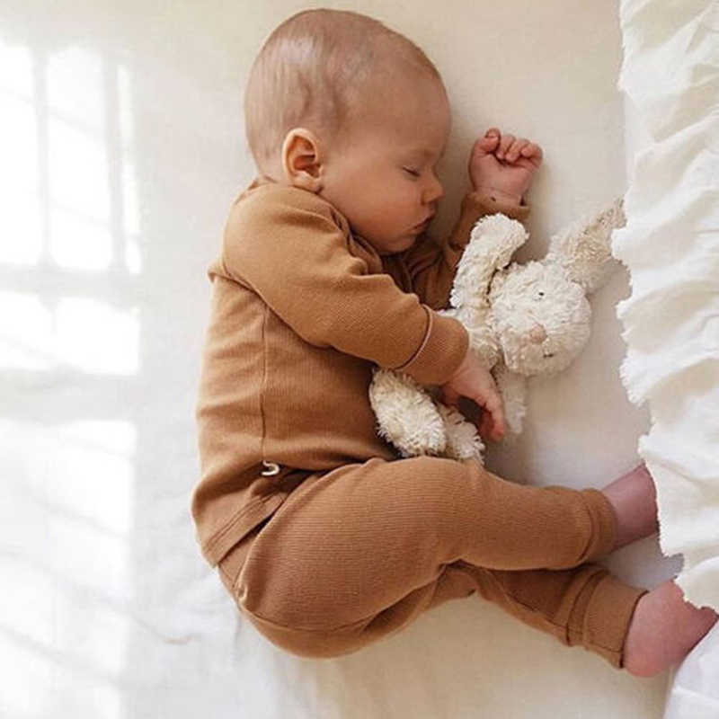 0-24M Newborn Kids Baby Boy Girl Clothing Solid Color Pajamas Pjs Set Cotton Sleepwear Nightwear Cute Clothes Outfit home wear