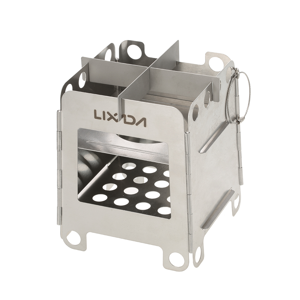 Lixada Outdoor Camping Wood Stoves Folding Pocket Stove Lightweight Portable Stainless Steel Backpacking Cooking Picnic