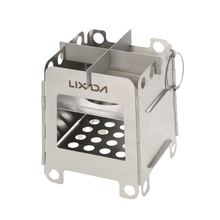 Lixada Outdoor Camping Wood Stoves Folding Pocket Stove Lightweight Portable Stainless Steel Stove Backpacking Cooking Picnic