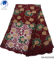 BEAUTIFICAL guipure lace fabric nigerian lace fabrics cord lace fabric wine red wedding dress fabric laces with stones ML4G254