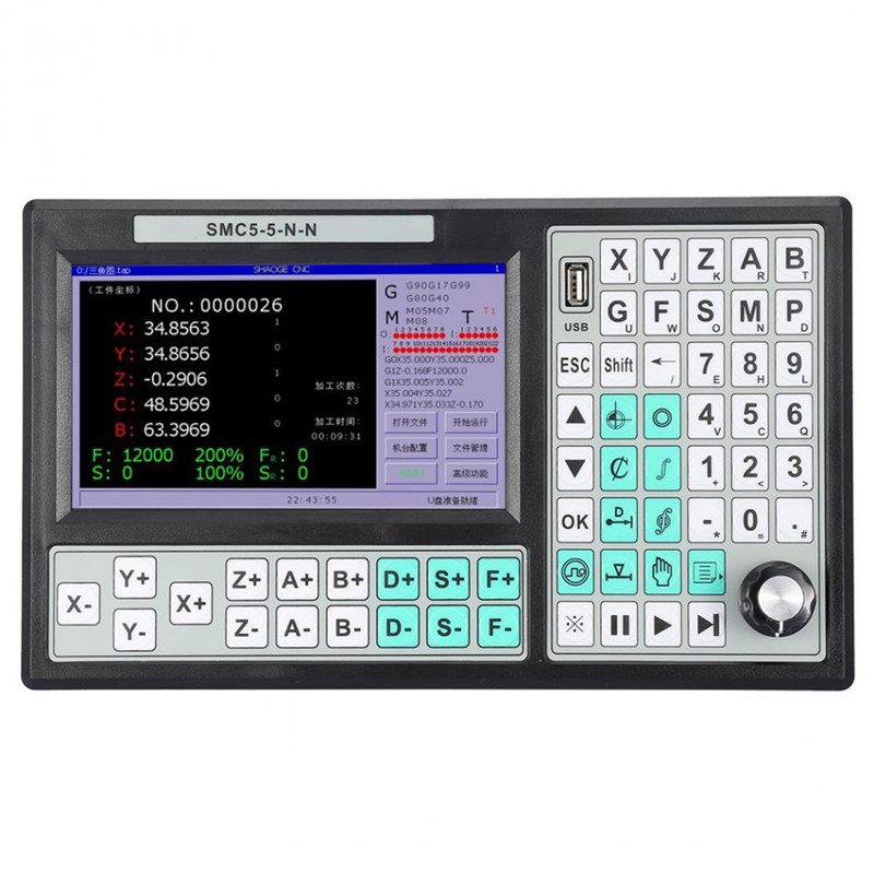 CNC 5 axis Stand Alone Motion Controller Offline CNC Controller 500KHz 7 Inch Large Screen Replace