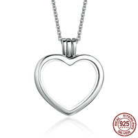 High Quality Genuine 925 Sterling Silver Heart Memories Floating Box Necklaces & Pendants Authentic Silver Jewelry Psf002 BAMOER