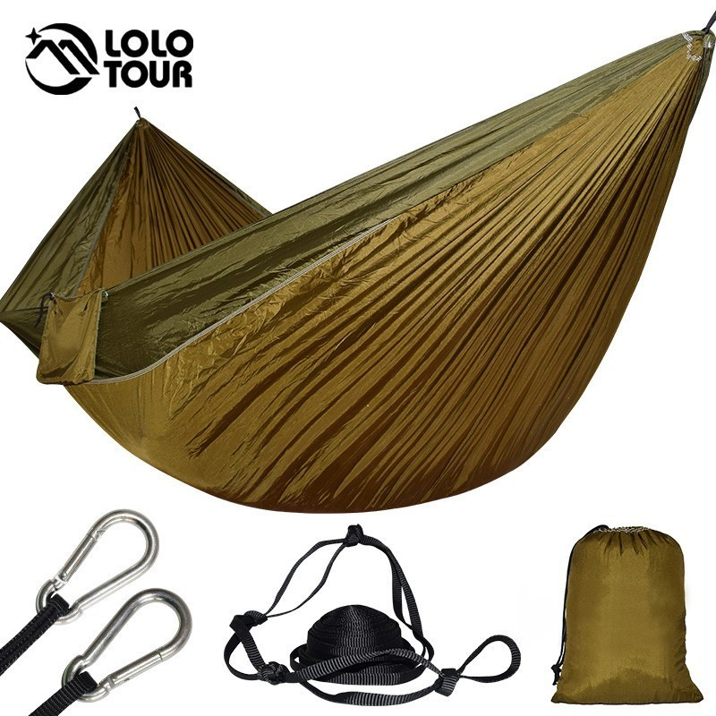 2 People Large Parachute Hammock Garden Swing Hamaca Double Camping Hammock Tent 118*68 Inch Survival Sleeping Hamak 300*175cm