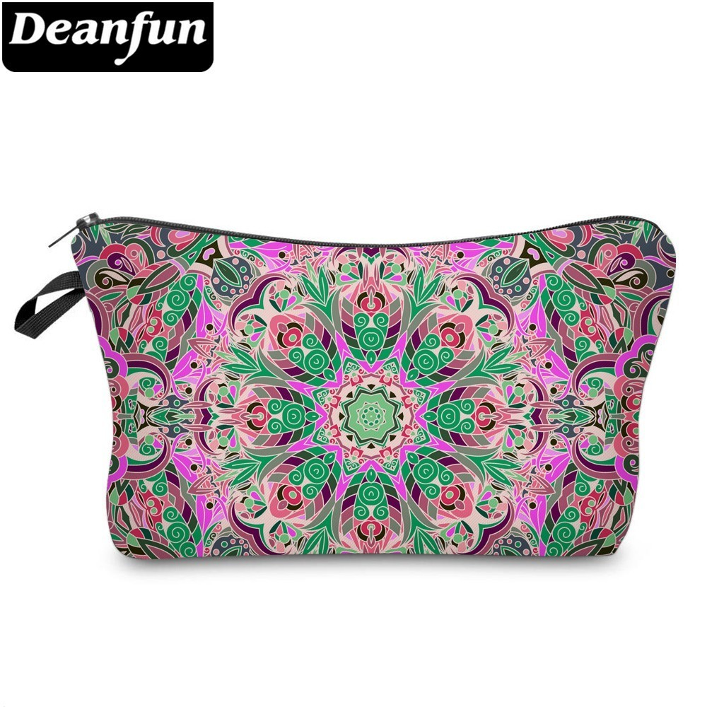 Deanfun Mandala Bloom Cosmetic Bag Waterproof Printing Colorful Travel Organizer Custom Style Artist  51467