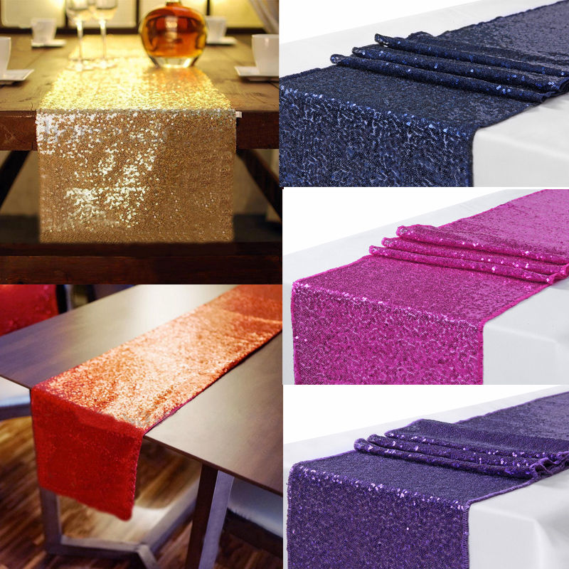 2019 Deluxe 30x300cm Sequin Table Runner Shiny Sparkly Material Cloth Wedding Home Decor Parties