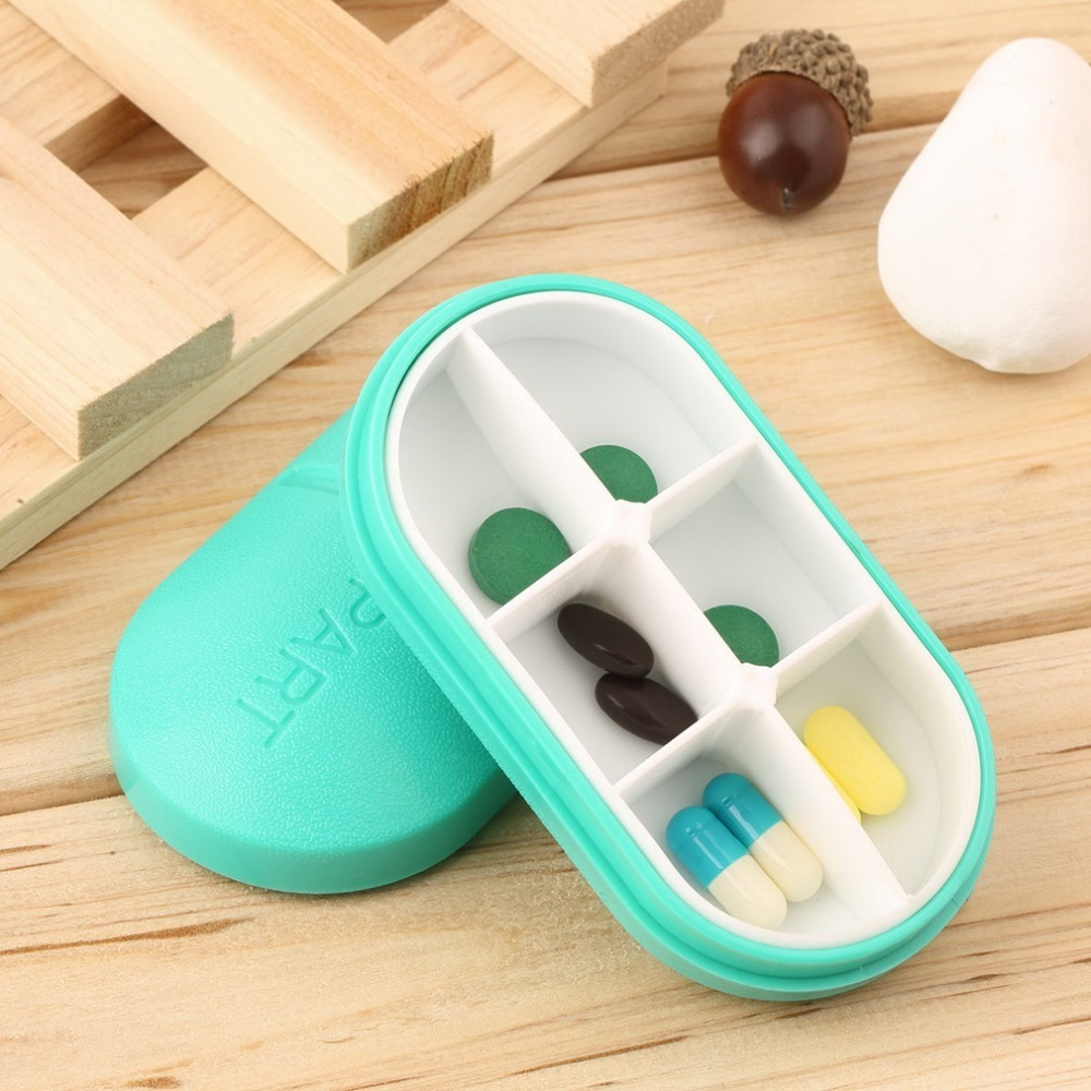 2018 New Pill Storage Box Portable Travel Emergency First Aid Kits 6-Slot Medical Pill Box Holder Medicine Drug Case Red Blue