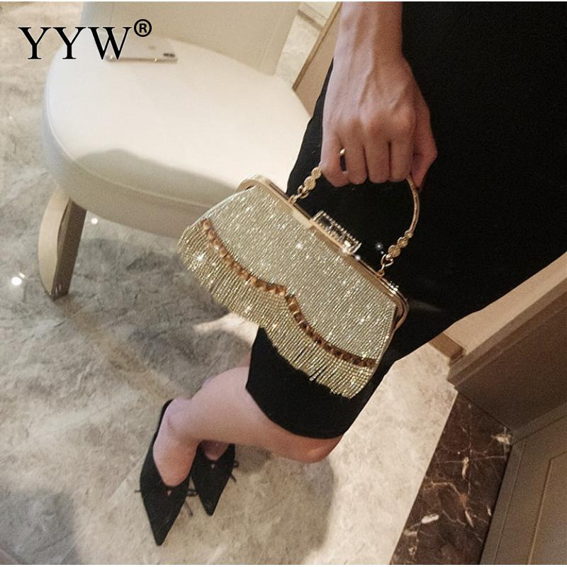 Image 4 - Rhinestones Tassel Clutch Bag Women Gold Fashion Party Wedding Handbag And Purse Evening Bags Beaded Metal Luxury Elegant Bag-in Top-Handle Bags from Luggage & Bags