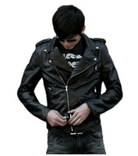 Fast shipping The spring and autumn winter men's leather jacket slim Pu washed leather coat male locomotive