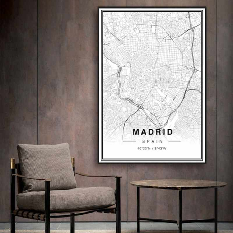 SURE LIFE Black and White Madrid City Map Latitude Longitude Prints Poster Minimalist Canvas Painting Digital Art Wall Pictures