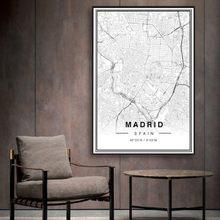 SURE LIFE – affiche en noir et blanc avec carte de ville de dubaï, impression de Latitude et de Longitude, peinture sur toile minimaliste, images murales d'art numérique