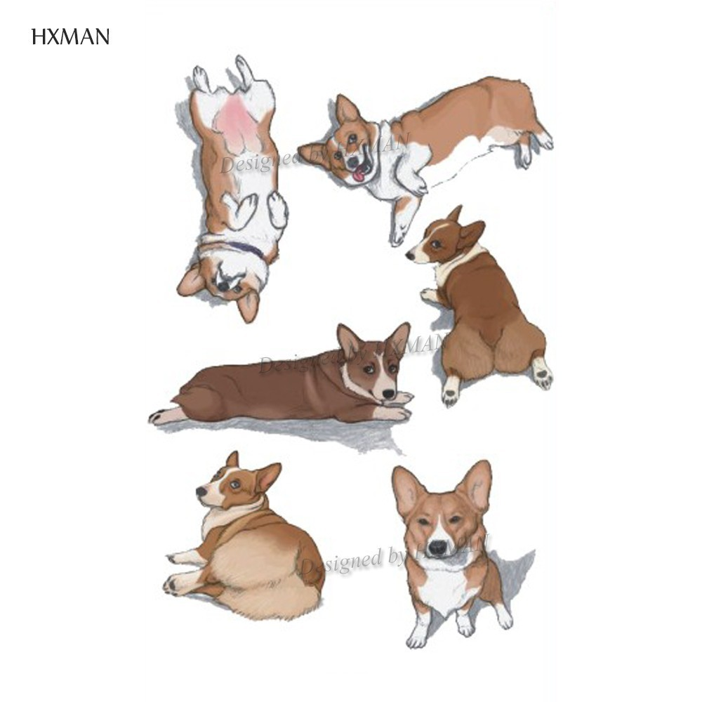 HXMAN Corgi Dog Temporary Tattoos Sticker Animal Tattoo For Women Fashion Sexy Body Art Child Girls Fake Tatoo 9.8X6cm A-372