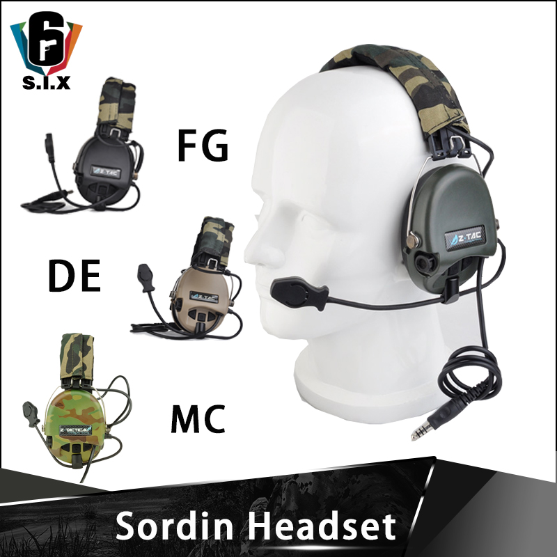 Z-tac Airsoft Tactical Sordin Headset Aviation Headsets Shooting Radio Zsordin HeadPhone Z111