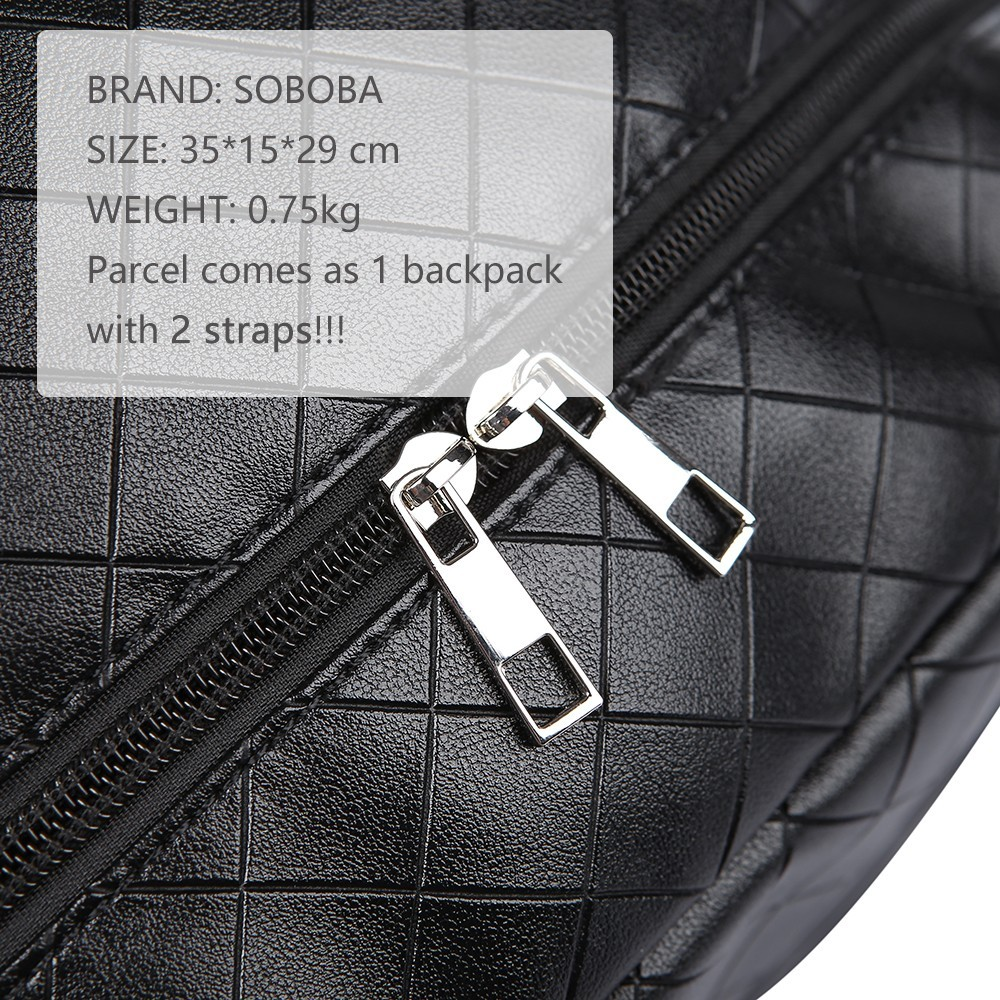 Soboba Black Plaid Large Capacity Diaper Bag Stylish Travelling Baby Stroller Bag Brief Maternity Backpack Fashionable Mommy Bag