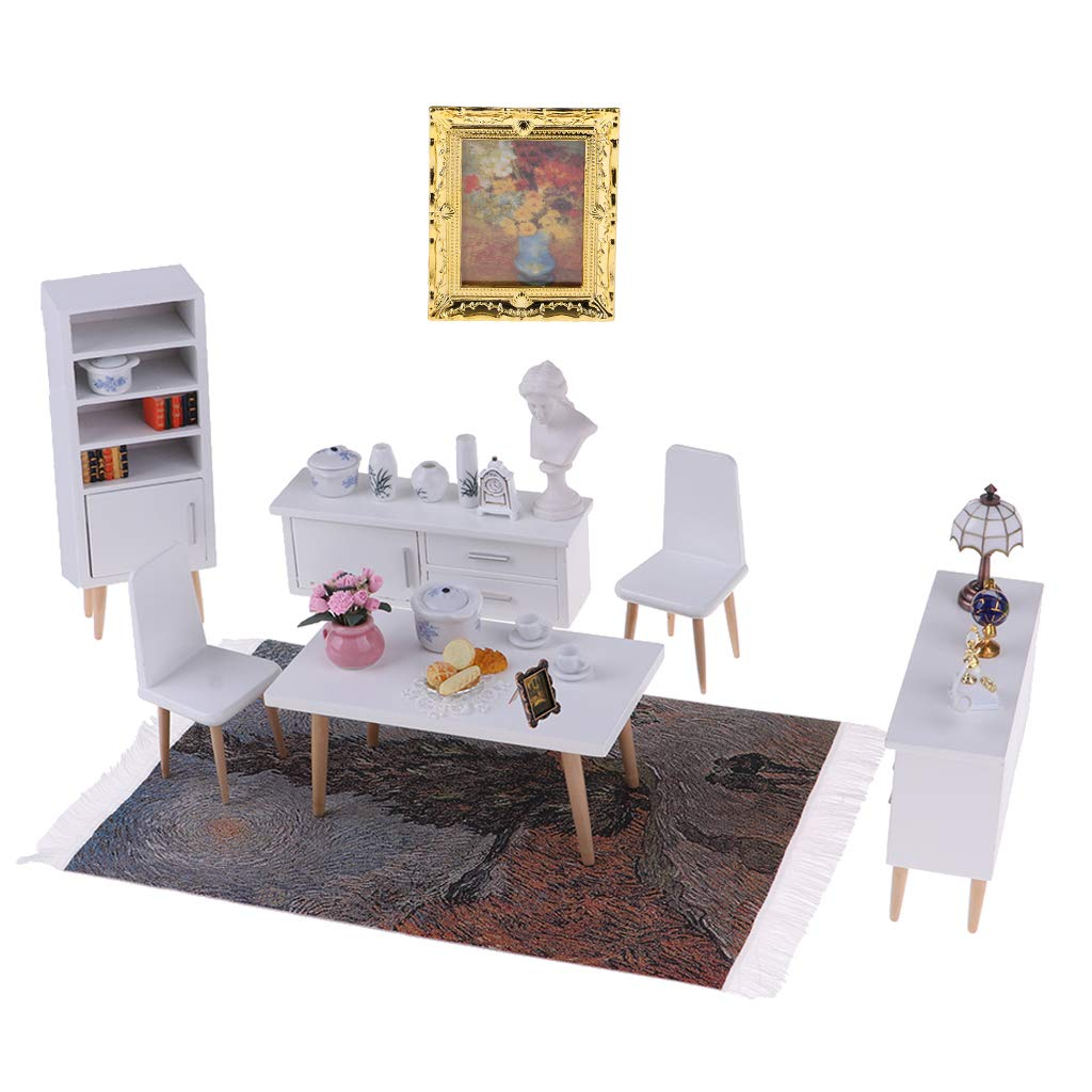 1:12 Miniature Doll House Furniture Table Chair Cabinet Lamp Shelf Dollhouse Accessories Toys Gift for Children Toddler Kids