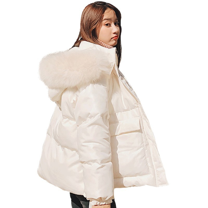 Bread Clothing Big Fur Collar   Parka   Women Winter White Down Cotton Coat 2018 New Loose Female Fashion Warm Hooded Jacket HJ02