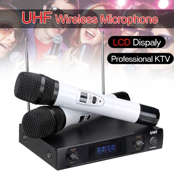 Dual Professional Handheld UHF Wireless Microphone System Cordless Adjustable Mic for Karaoke System DJ KTV Home Party Speech