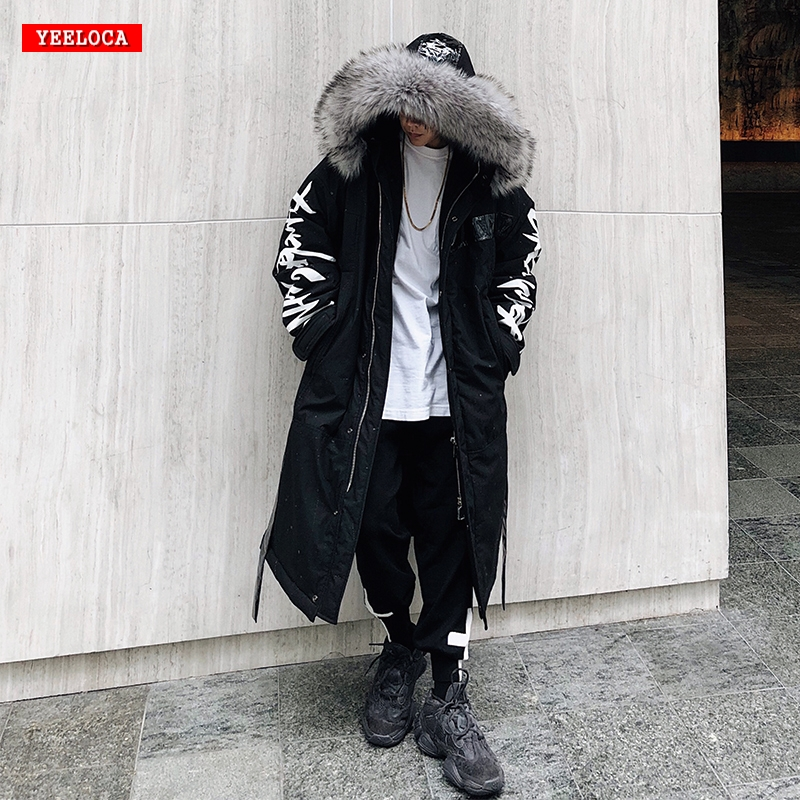 Winter Hip Hop Fashion Long Fur Collar Coat 2018 Cotton Jacket Hoodies Clothing Street Wear Outerwear & Coats Warm Thick(China)