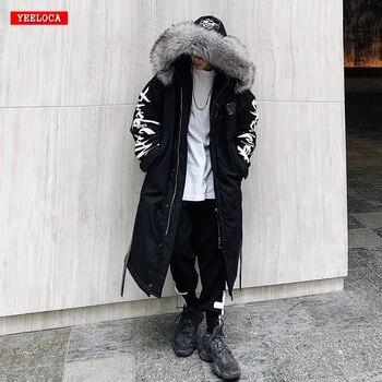 Winter hip hop fashion long fur collar coat 2018 cotton jacket Hoodies clothing Street wear outerwear & coats warm thick