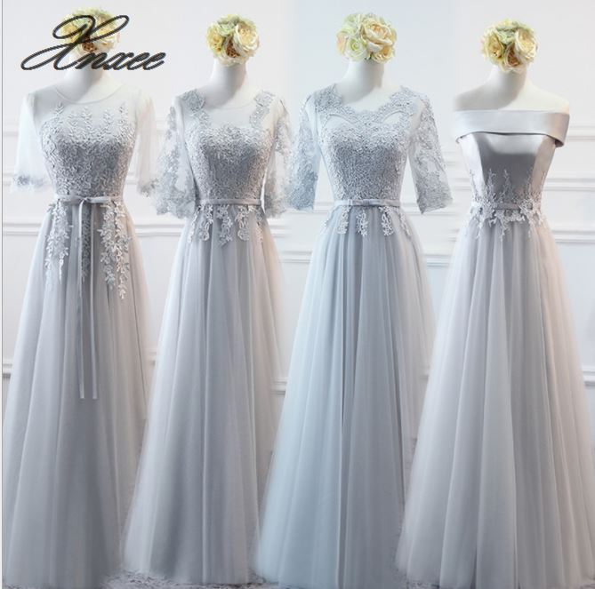 New Sweet Blue Lace Dresses Floor length Half Sleeve Appliques Formal Bride Party Graduation Prom Gown