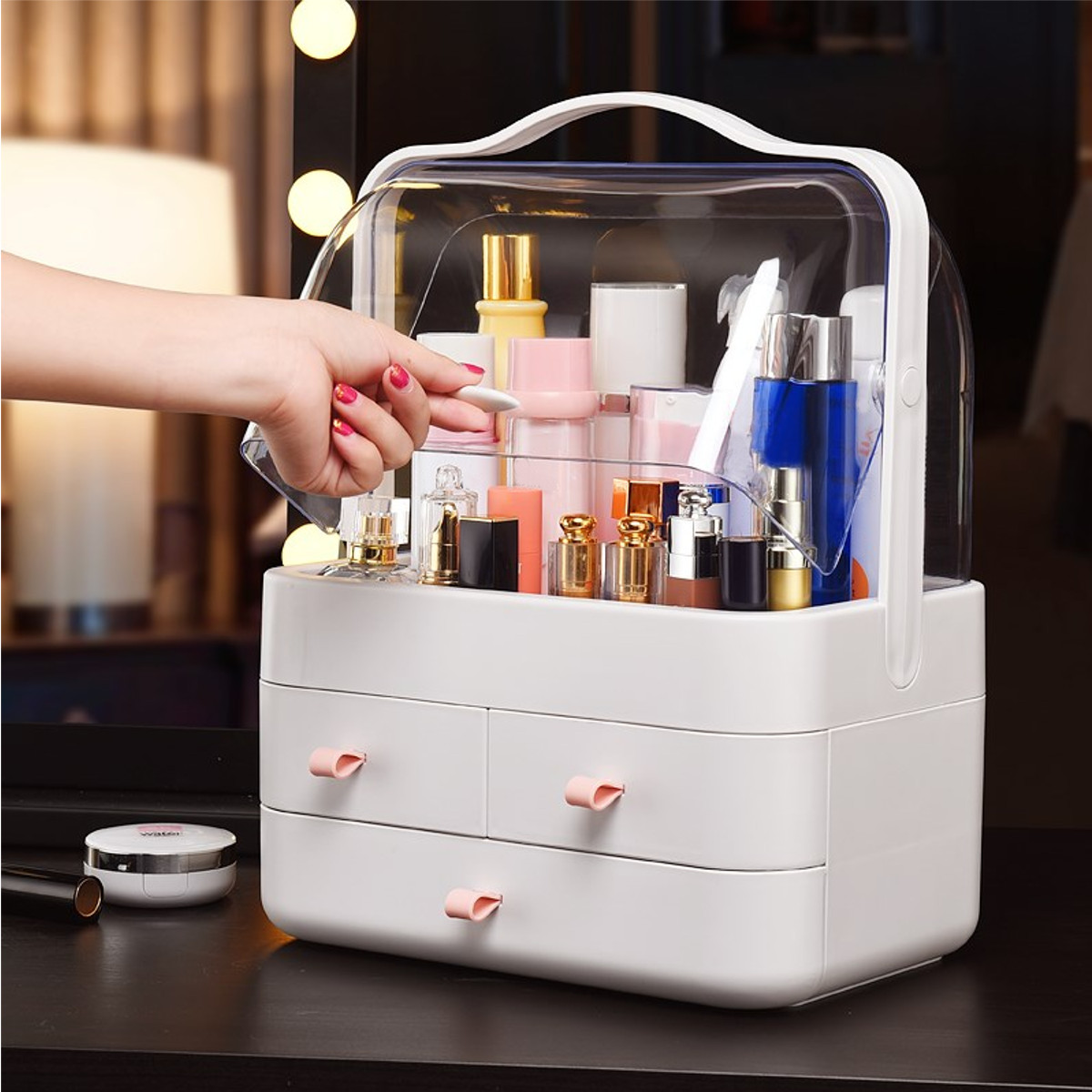 Plastic Cosmetic Drawer Storage Box Makeup Holder Organizer Box Lipstick Skin Care Products Desktop Sundry Bathroom Storage CasePlastic Cosmetic Drawer Storage Box Makeup Holder Organizer Box Lipstick Skin Care Products Desktop Sundry Bathroom Storage Case
