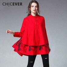 CHICEVER المرقعة الكشكشة المرأة قمصان بلوزات عالية كم طويل فضفاض حجم كبير الربيع عادية قميص نسائي ملابس عصرية جديد