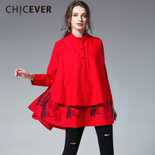 CHICEVER Patchwork Ruffles Women Shirts Top Blouses Long Sleeve Loose Plus Size Casual Spring Women's Shirt Fashion Clothing New
