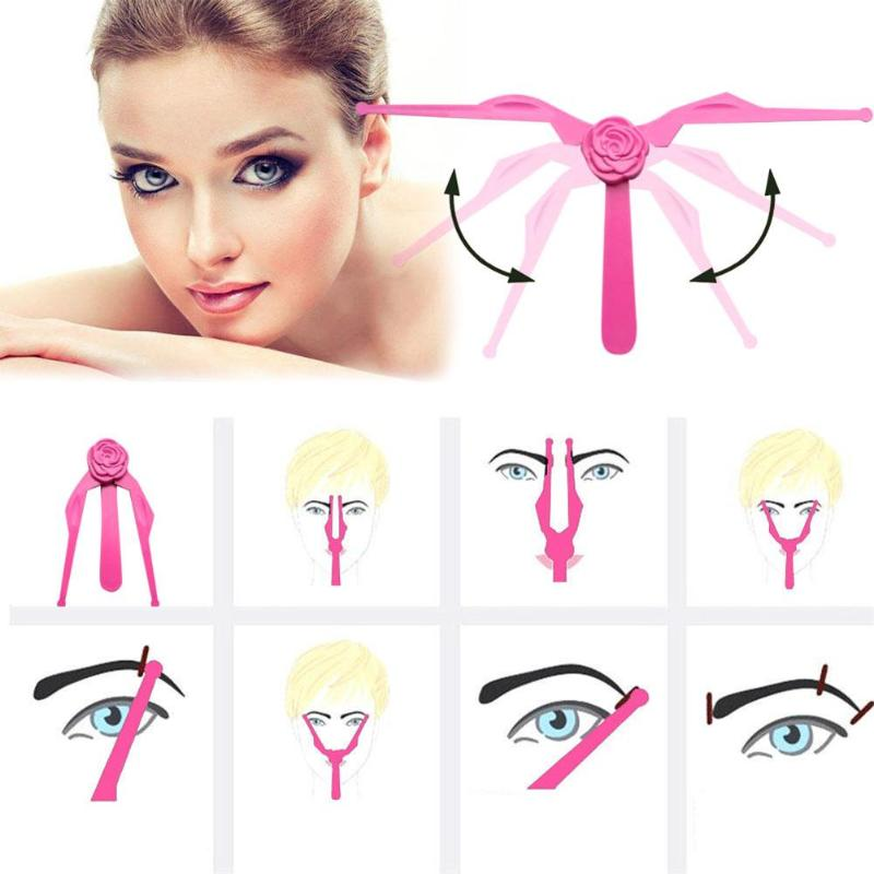 1set Foldable DIY Eyebrow Template Eyebrow Shape Stencils Eyeliner Beauty Ruler Makeup for eyebrow Accessories Tools