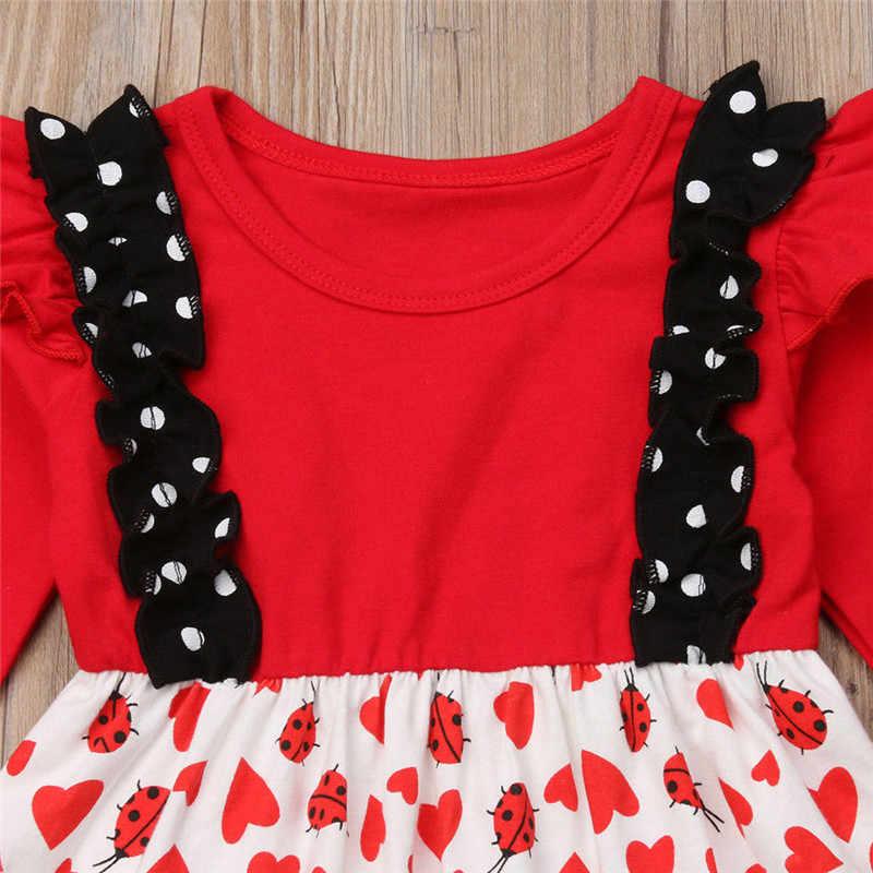 Рождественский комплект одежды с рюшами и божьей коровки для маленьких девочек, Рождественская осенне-зимняя одежда с героями мультфильмов красные топы, блузка, платье + штаны, комплект одежды для девочек