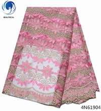 Beautifical sample lace fabric polyester custom dubai for party 5yards/piece pink wedding dresses 4N619