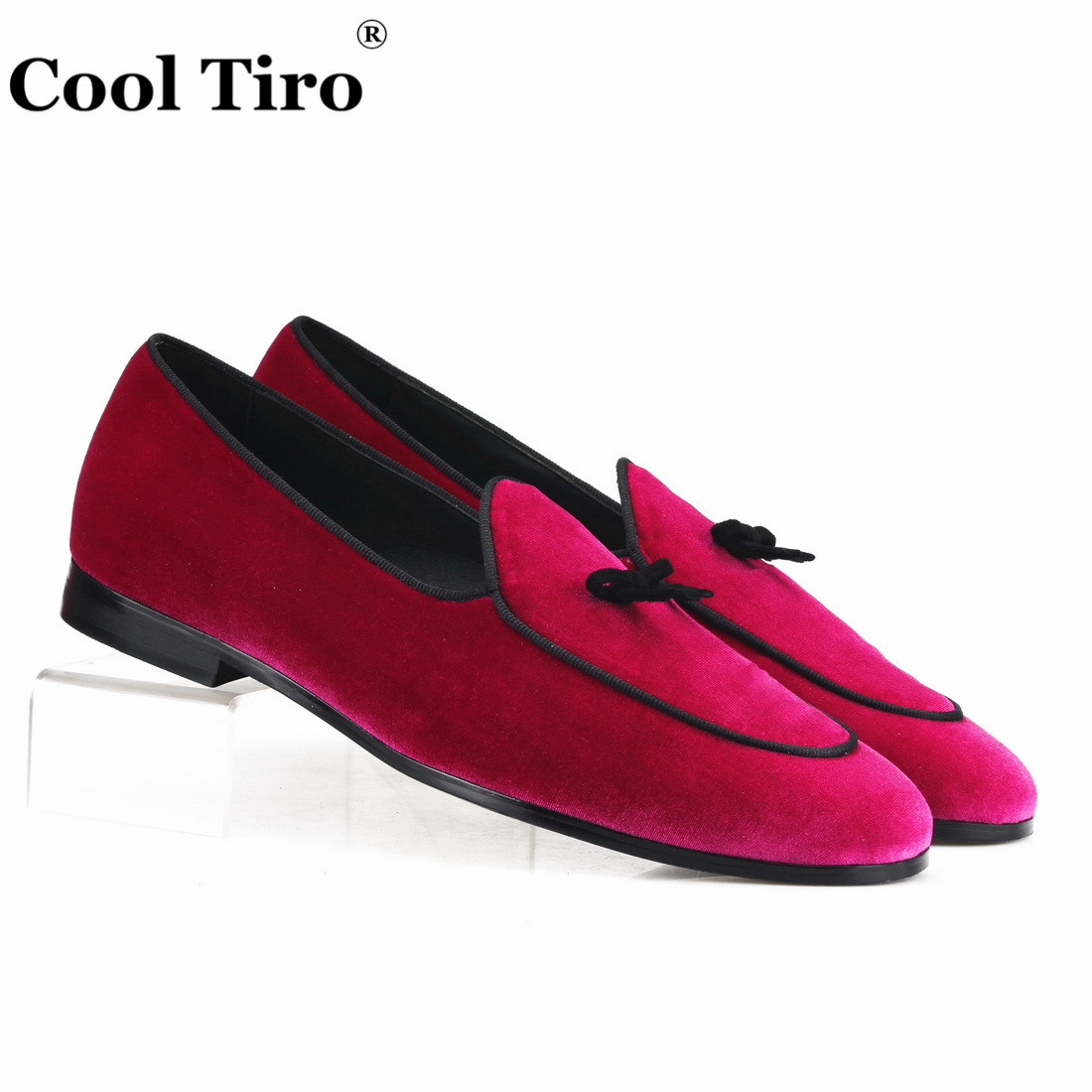 Cool Tiro Belgian Loafers Men s Smoking Slippers Moccasins Rose Velvet Shoes With Bow Wedding party