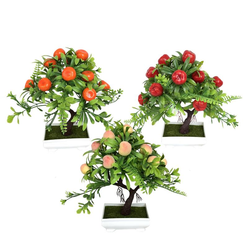 Artificial Flower Plant Small Bonsai Simulation Red Apple Tree Peach Tree Orange Bonsai for Home Garden Decoration