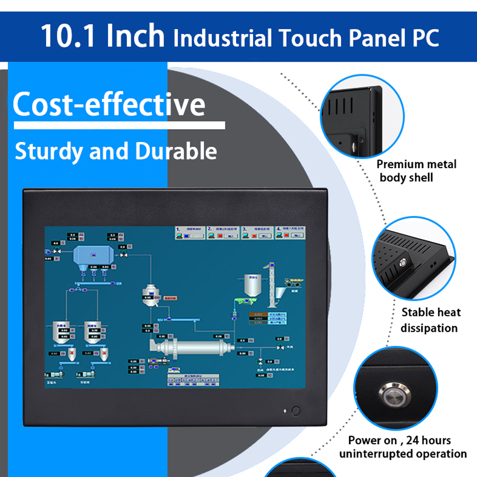 10.1 Inch Industrial Touch Panel PC,4 Wires Resistive Touch Screen,All In One Computer,Wins 7/10,Linux,Intel J1800,[HUNSN DA13W]