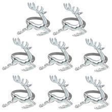 8 шт. кольцо для салфетки в форме оленя кольца для стола декоративное украшение для рождественских свадебных вечеринок повседневное использование(серебро