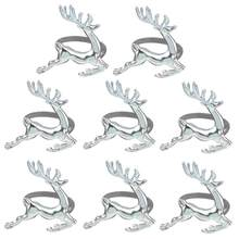 8 PCS Elk Deer Napkin Rings Table Decorative Ornament for Christmas Wedding Parties Everyday Use (Silver)(China)