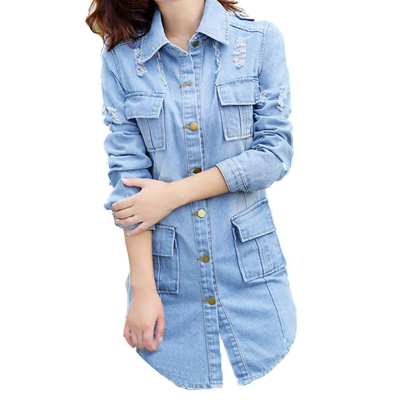 Long Lapels Female Denim Jacket Women Four Pockets Design Fashionable Soft Denim Jackets Coat Tops Spring Summer Autumn Newly Price $24.60