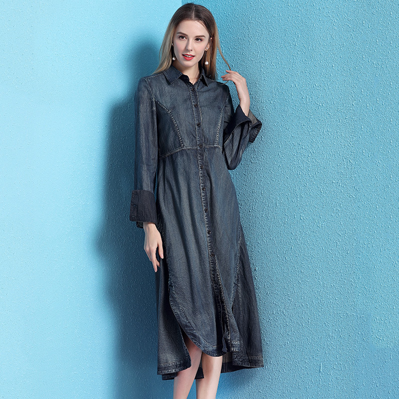 Denim dress women 2019 spring women 39 s fashion slimming side slit irregular denim dress mujer NW19B6029 in Dresses from Women 39 s Clothing