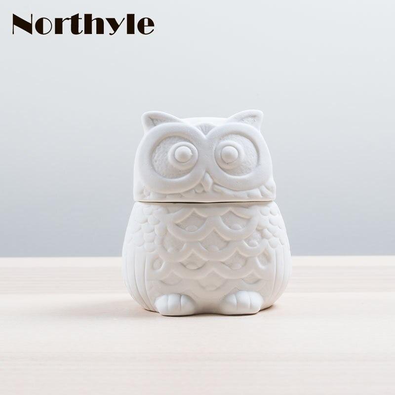 Hibou moderne en céramique pot boîte à bijoux décoration de la maison en porcelaine figurines économiser boîte tirelire cadeau d'anniversaire cadeau de mariage