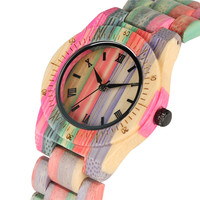 Colorful Roman Numerals Dial Bamboo Quartz Watch Movement for Women Imported Wrist Watches Lightweight Fashion Bamboo Watch