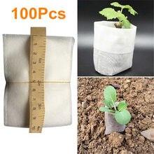 100 pces plantas de mudas berçário sacos biodegradáveis orgânicos crescer sacos de tecido eco-amigável ventilar crescente plantio sacos