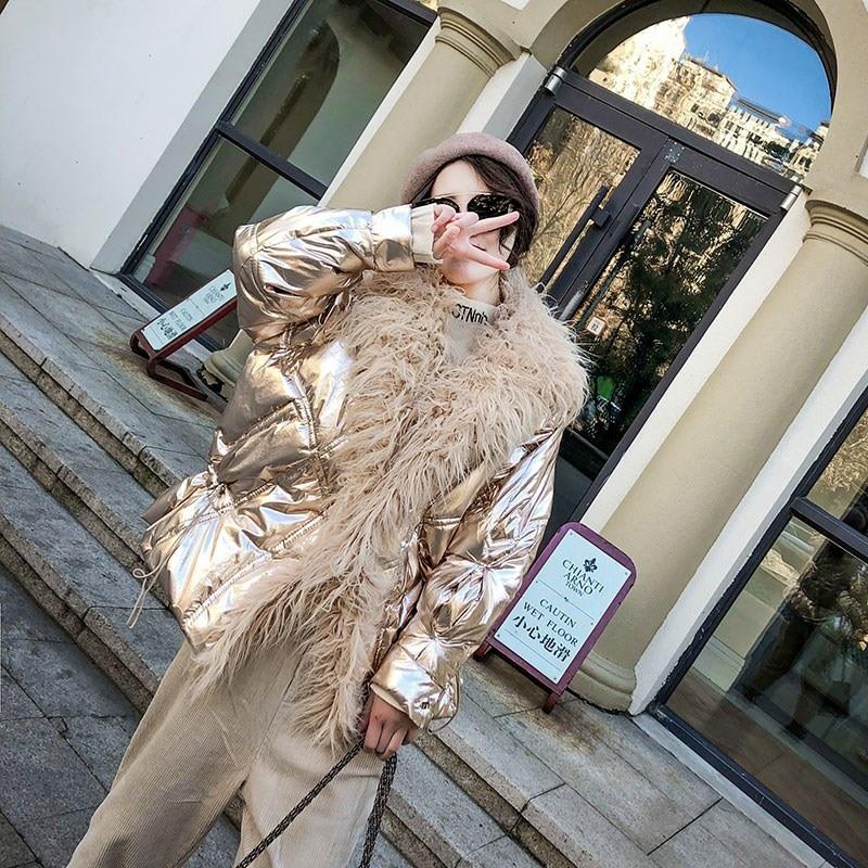 Winter Korean Silver Shiny Women Thick Jacket Causal High Street Warm Faux Mongolia Sheep Fur Cotton Coat Loose   Parka   Coat
