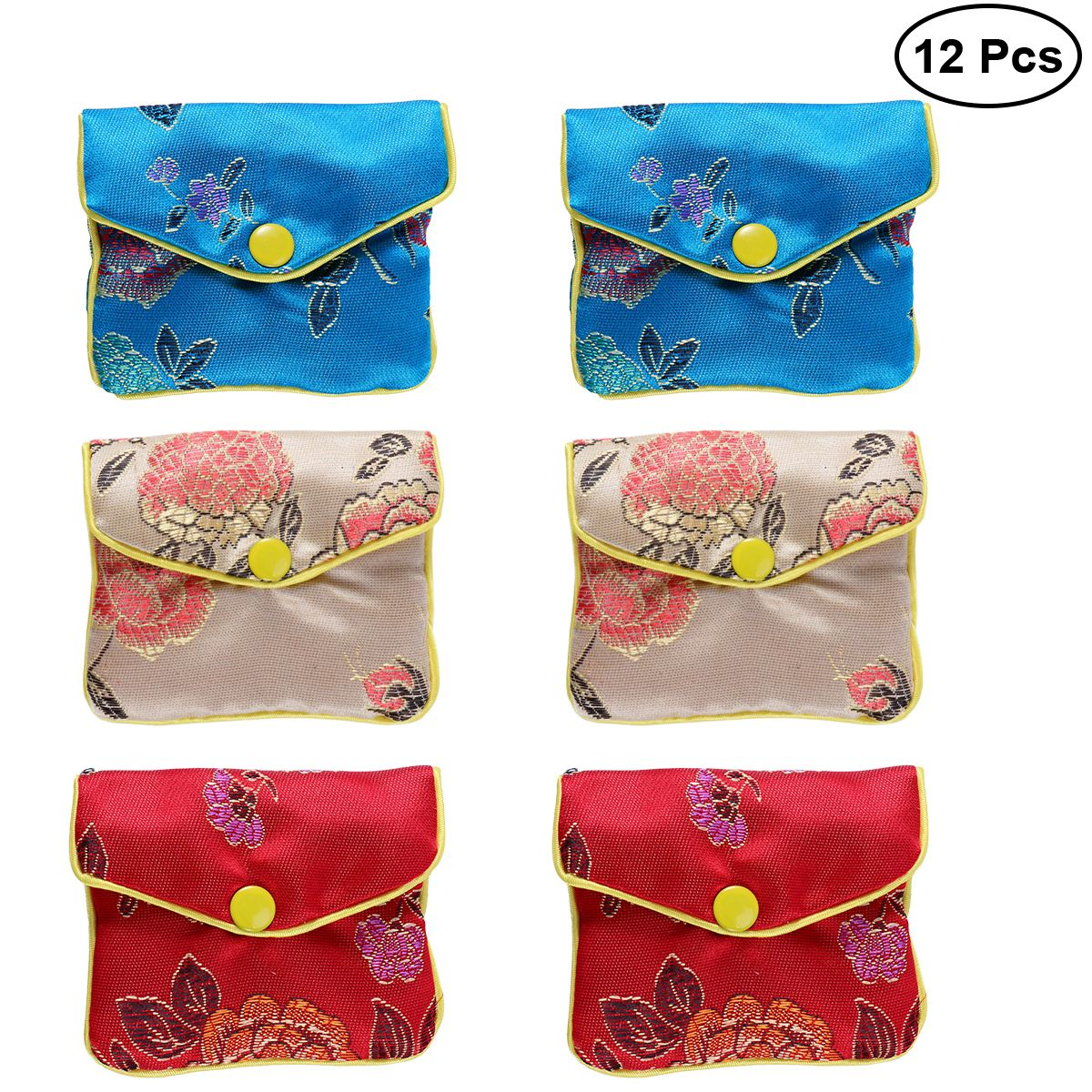 12pcs Gift Wrap Storage Chinese Traditional Brocade Pouch Coin Purse Embroidery Pouch Jewelry Bag