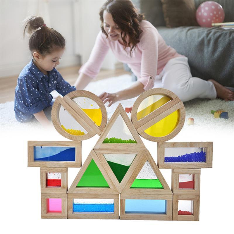الأطفال التعليم المبكر مبتكرة التعلم لغز لعب الصوت الاكريليك قوس قزح بناء كتل للأطفال-في مجموعات أدوات البناء النموذجي من الألعاب والهوايات على  مجموعة 1