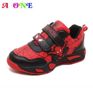 Весенне-осенние кроссовки для мальчиков из искусственной кожи с рисунком Человека-паука и надписью; Детская обувь для катания на коньках; М...