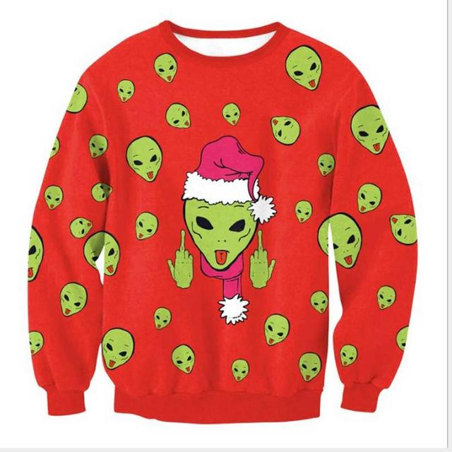ca1d545fdcff 3D Print Aliens Christmas Hoody Women s Sweatshirt Men Modis Tops Anime  Emoji Harajuku Hoodie Elk Santa