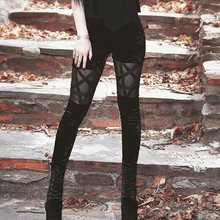 Women Pants 2019 Black Pentagram Hollow Out Trendy Gothic Streetwear Thin Summer Trousers Fitness Skinny Casual High Waist