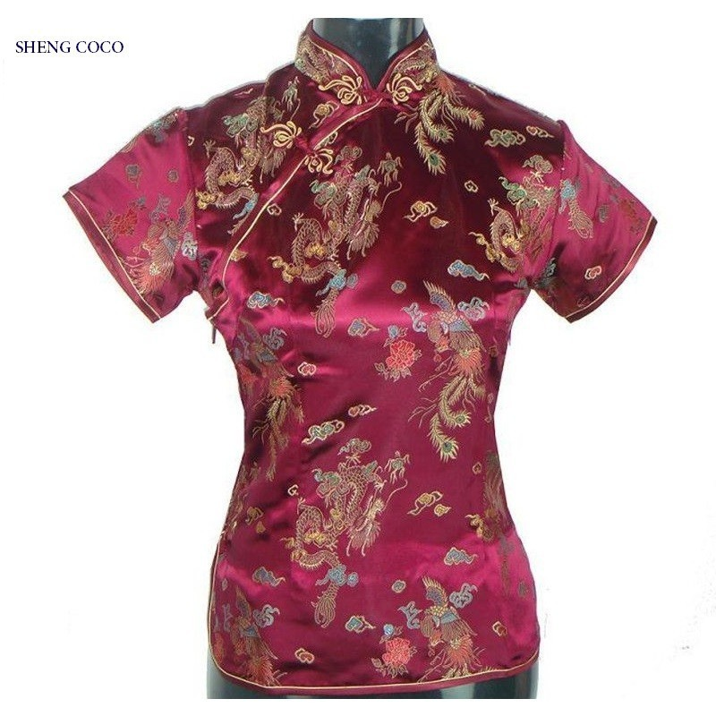 SHENG COCO Plus Size Women Clothing Flower Tops Tang Costume Chinese Style Shirts Black Traditional Chinese Cheongsam Blouse 4XL