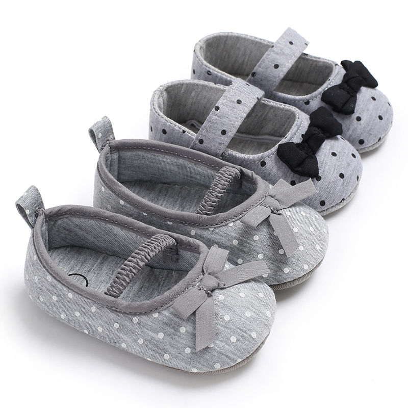 Grey Polka Dot Butterfly-knot Cotton Fabric Girl Shoes 2 Colors Spring Autumn Hook & Loop Soft Sole First Walkers Princess Shoes