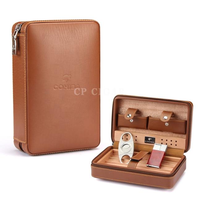 COHIBA Leather Cigar Case Cedar Cigar Travel Humidor with Cigars Lighter Cutter Humidifier Set Gift Box