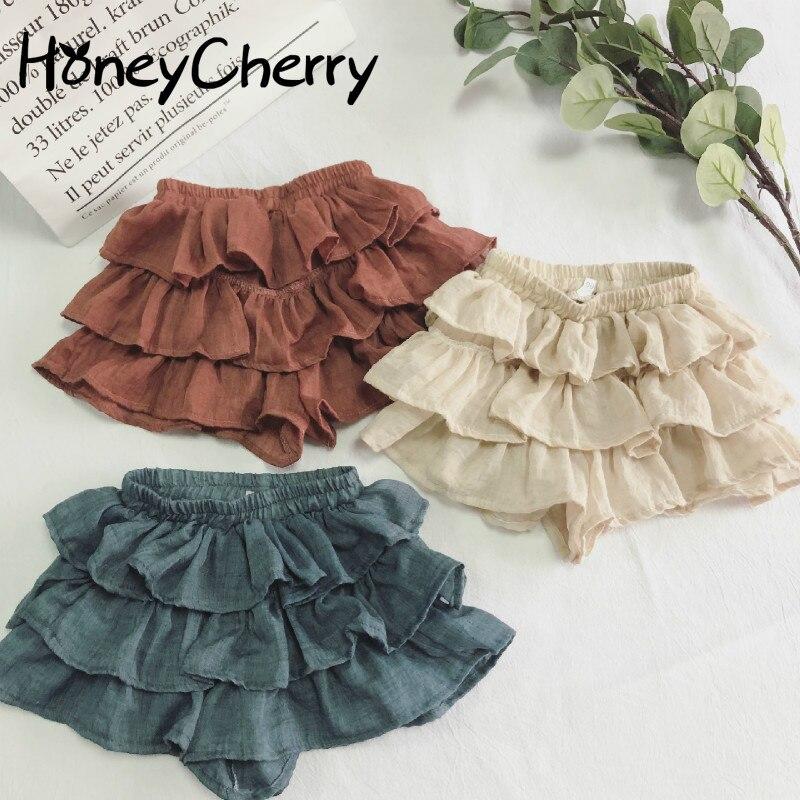 2020 New Skirt Shorts Korean Pure Color Thin Cotton Short Pants Girls Toddler Girl Shorts Girls Summer Shorts